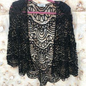 Vintage Looking Black Lace Cardigan